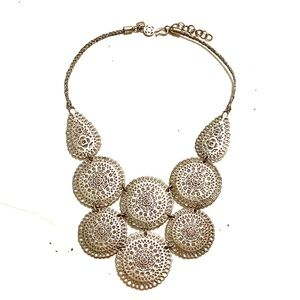 Medallion Bib Necklace Silver